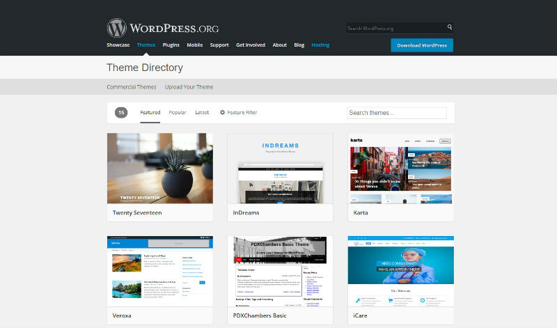 Gratis WordPress temaer fra WordPress org